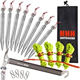 """Heavy Duty strong Aluminium pegs X8 stakes 10.5"""" long & lightweight set, with Camping & Hiking Hammer, Reflective Guyline, Tensioners, S- shape Carabiners to Secure your Tent or Tarp rings Kit."""