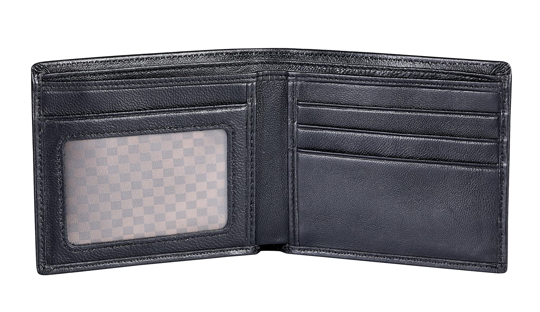 VIDENG GeunineゴートスキンレザーウォレットスリムRFIDブロック二つ折り財布カードホルダー財布 B07FFQPZH3 WSC-Black