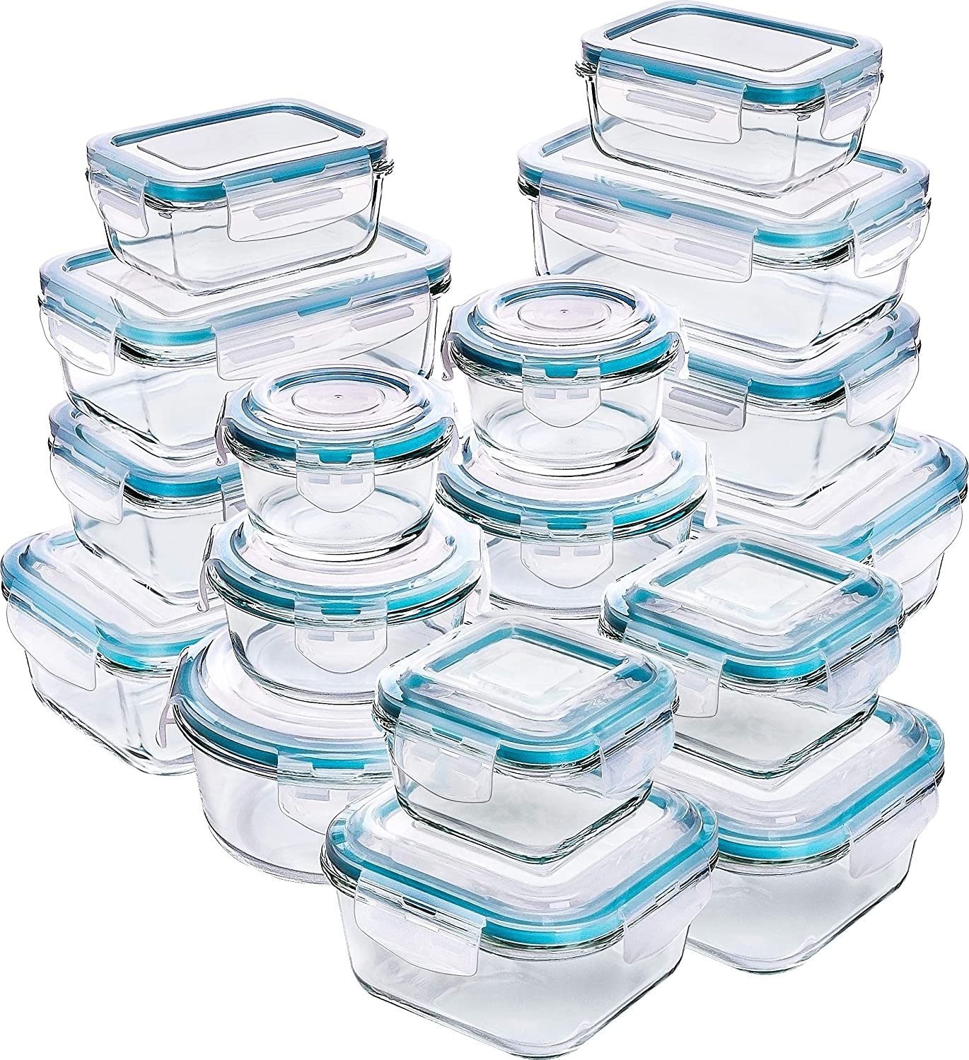 Utopia Kitchen Glass Food Storage Container Set - 36 Pieces (18 Containers, 18 Lids) - Transparent Lids - BPA Free (Blue, 36)