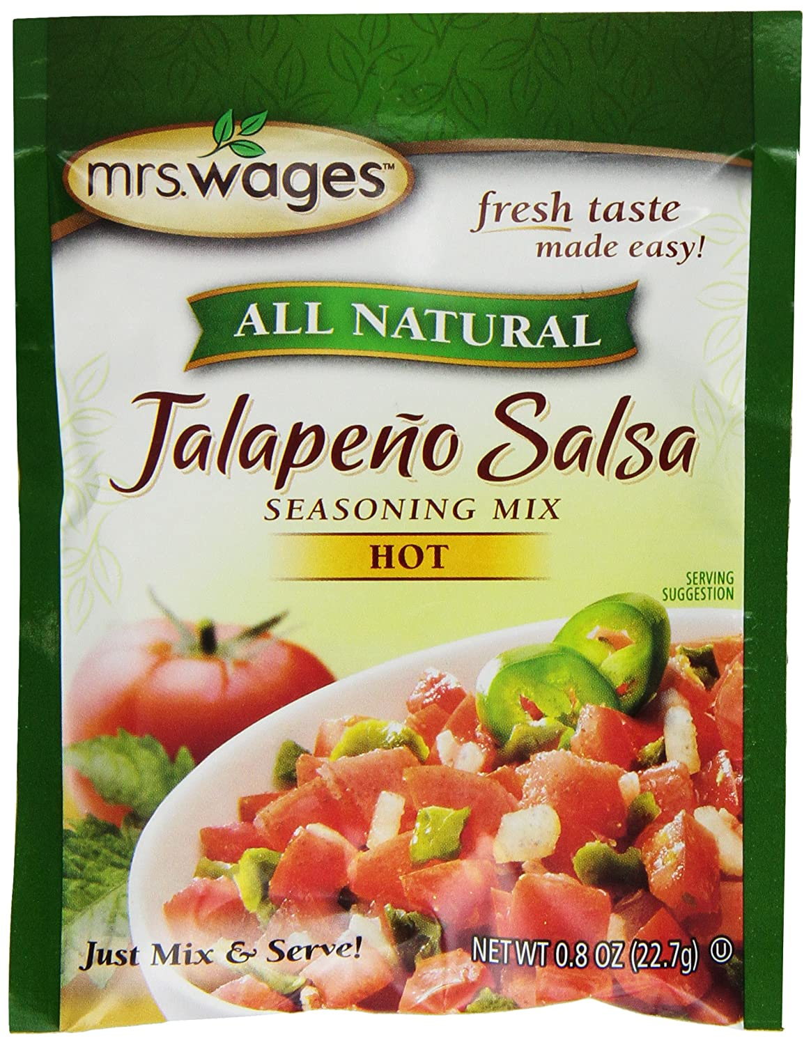 Amazon.com: Mrs. Wages Jalapeno Salsa Mix, 0.8-Ounce Pouches (Pack of 12)