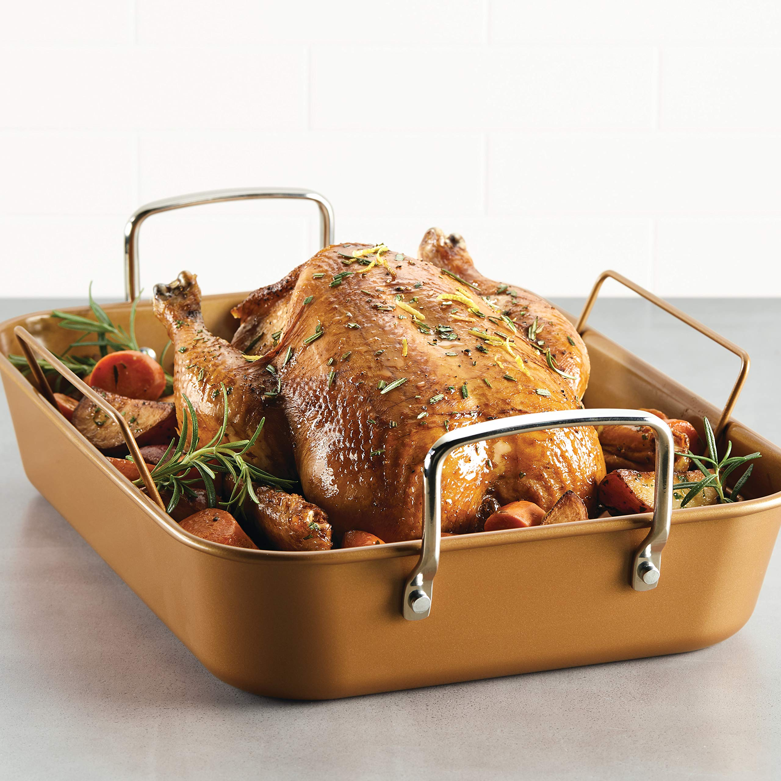 Ayesha Curry 47792 11'' x 15'' Rack Steel Roaster, 11 Inch x 15 Inch, Copper by Ayesha Curry Kitchenware (Image #2)