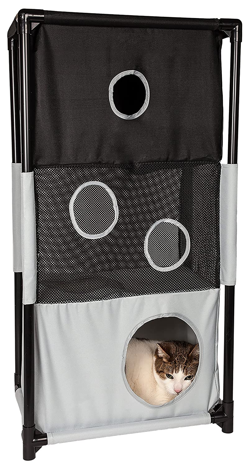 PET LIFE 'Kitty-Square' Collapsible Travel Interactive Kitty Cat Tree Maze House Lounger Tunnel Lounge, One Size, Black and White