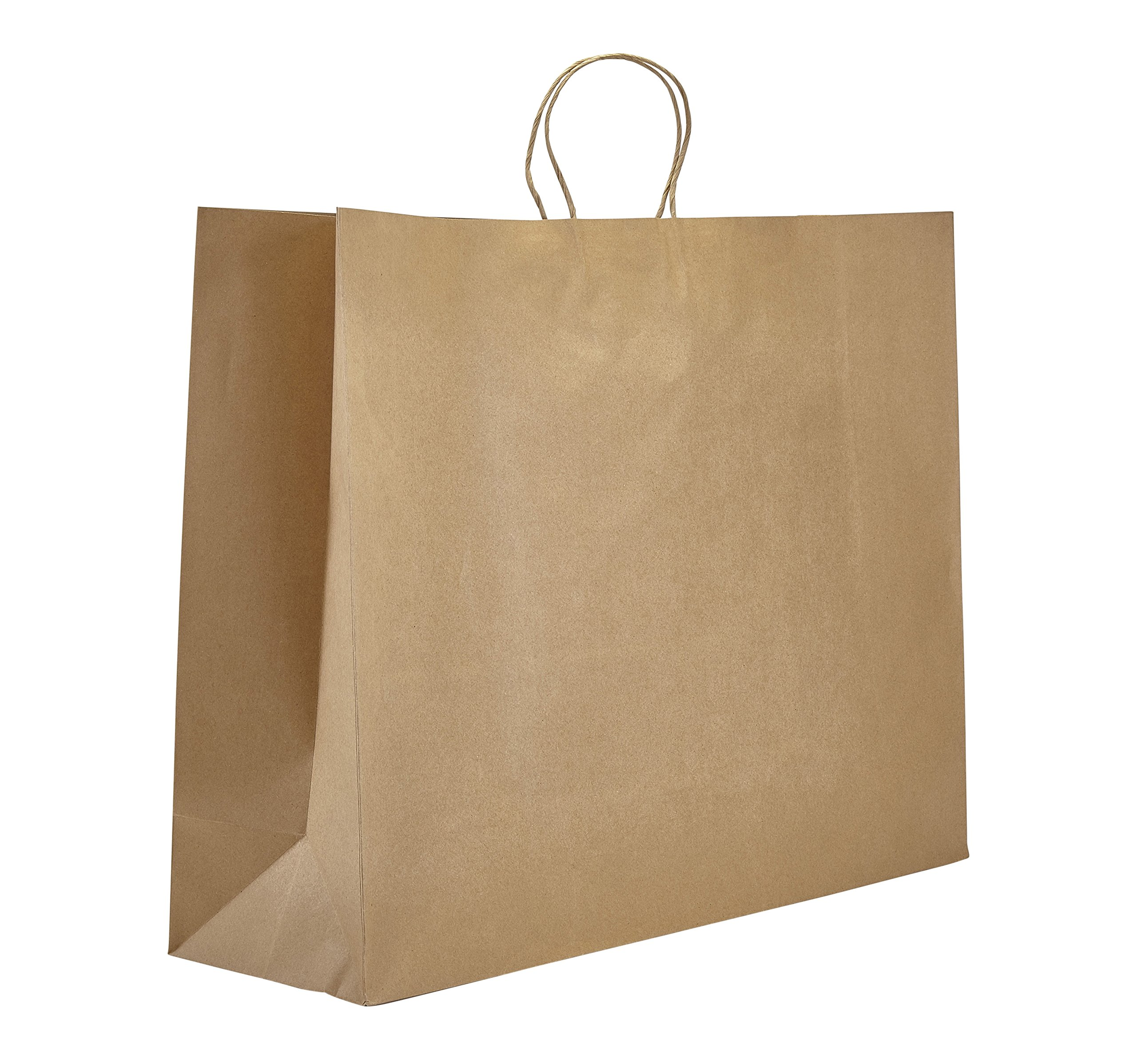 PTP - 24'' x 7.25'' x 18.75'' Natural Kraft Paper Gift Tote Bags - 125 count | Perfect for Birthdays, Weddings, Holidays and All Occassions |