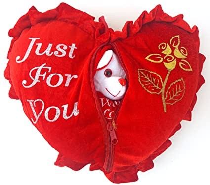 URVI Creations Romantic Valentine Gift Heart Love Teddy Pillow \ Cushion for Valentine Gifts for Boyfriend Girlfriend.