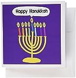 3dRose Purple happy hanukkah smiley menorah -cute