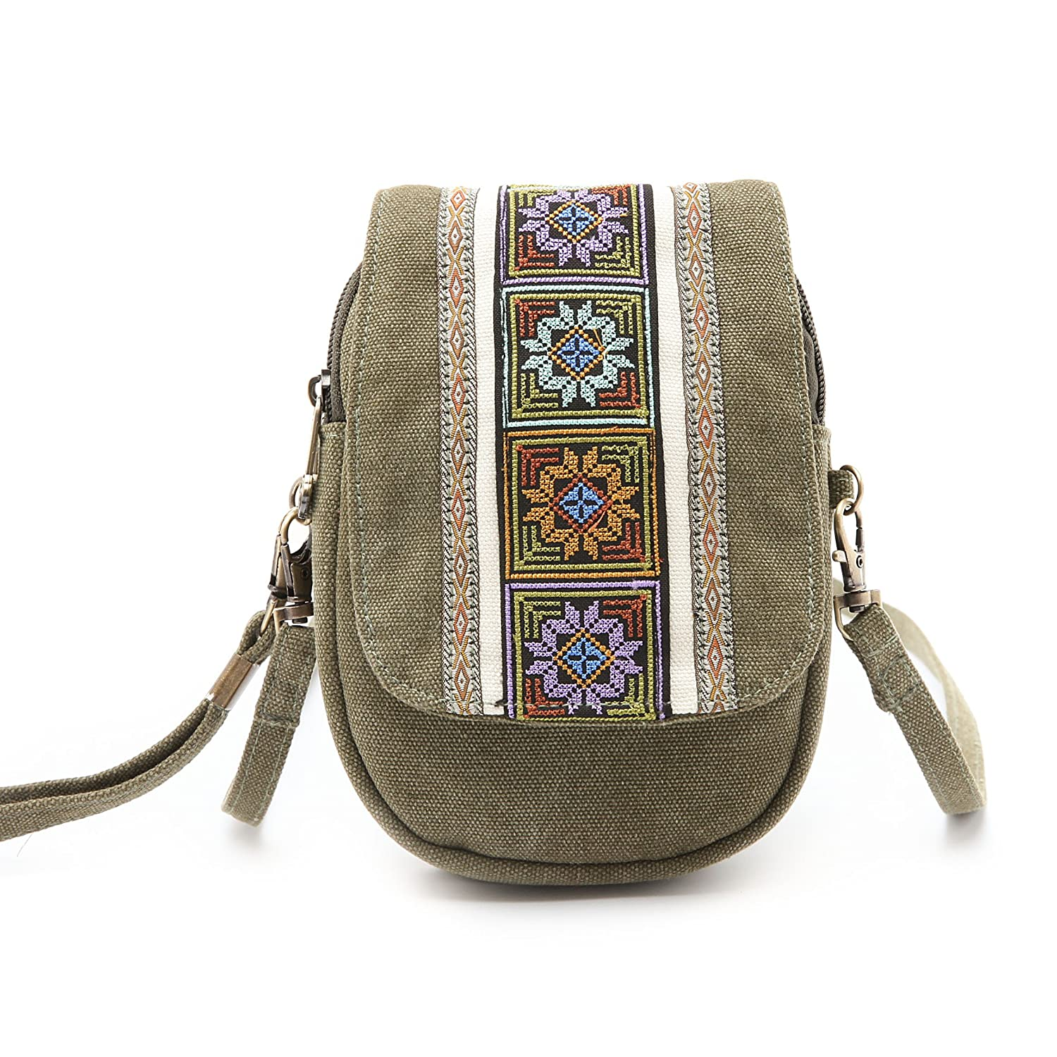 1a7448561c02 Goodhan Embroidery Canvas Crossbody Bag Cell phone Pouch Coin Purse for  Women Girls  Handbags  Amazon.com