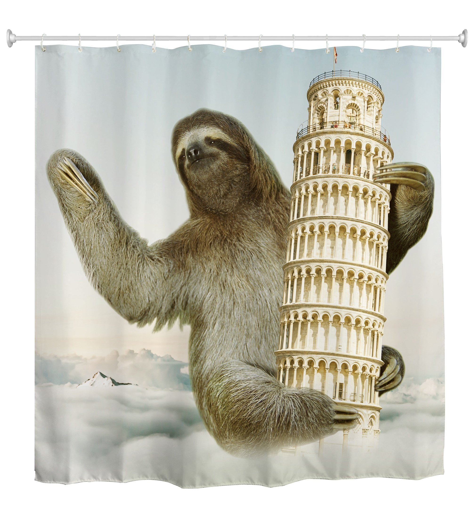 QIYI Sloth Shower Curtain Mildew Resistant,Anti-Bacterial,No Any Chemical Odor,Silky 100% Polyester Fabric,Easy to Rinse Off and Hang for Bathroom 60'' W x 72'' L-Leaning Tower and Sloth