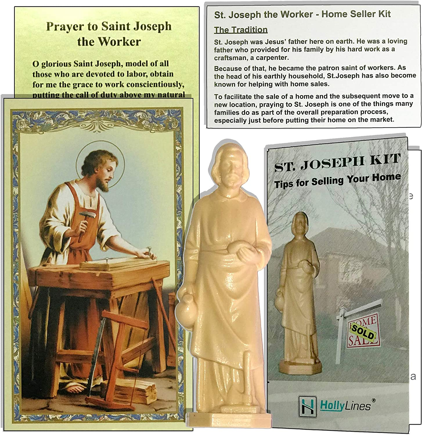 Holly Lines Saint Joseph Statue Home Sale Kit with Tips to Help Sell, Prayer Card and Instructions
