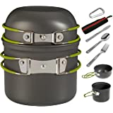Wealers Compact Foldeble Outdoor Camping Hiking Cookware Backpacking Cooking Picnic Bowl Pot Pan Set with Mesh Bag