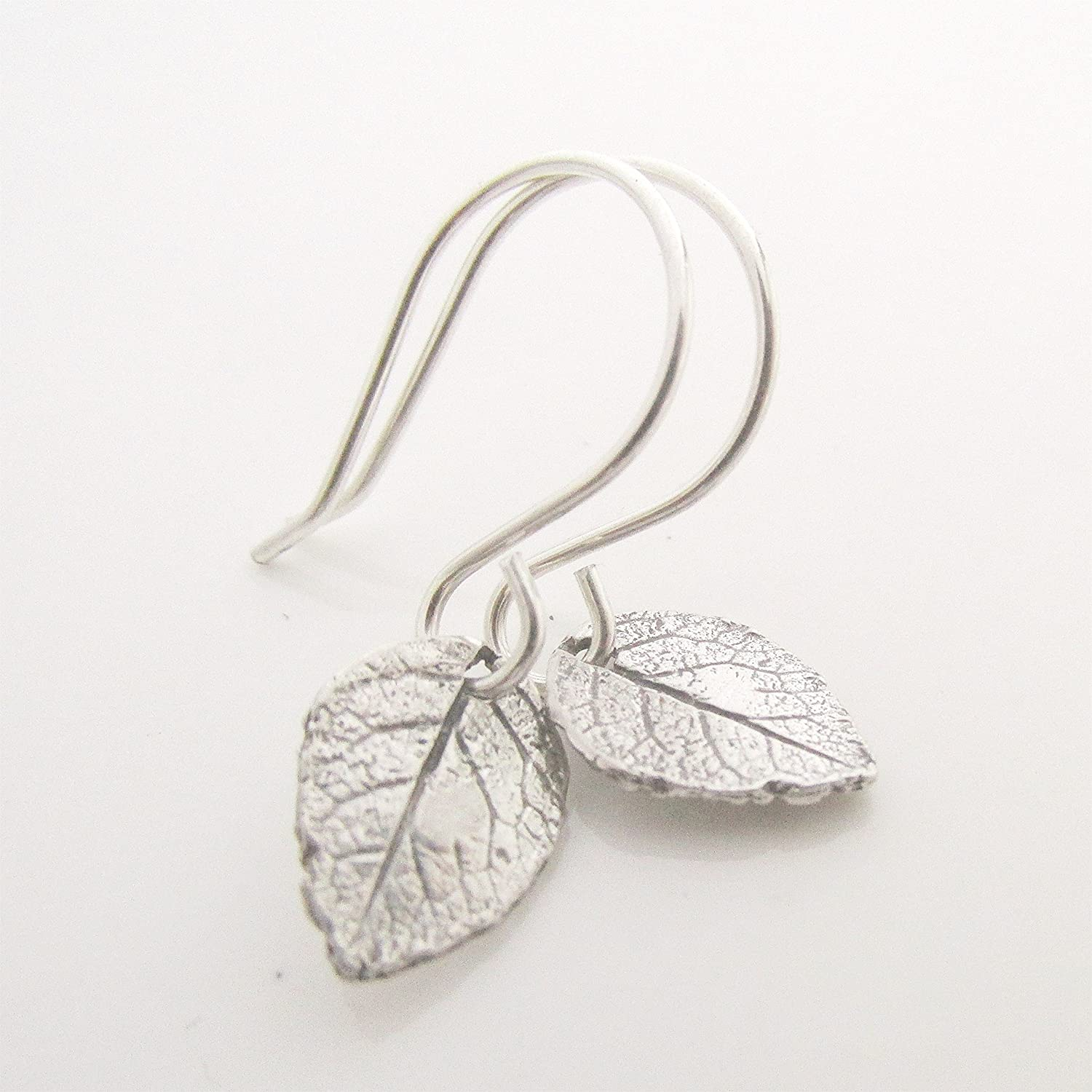 Silver Four Leaf Clover Heart Earrings Mini Leaf Earrings Unique Gift for her Leaf Jewelry Sterling Silver Earwire Nature Inspired **