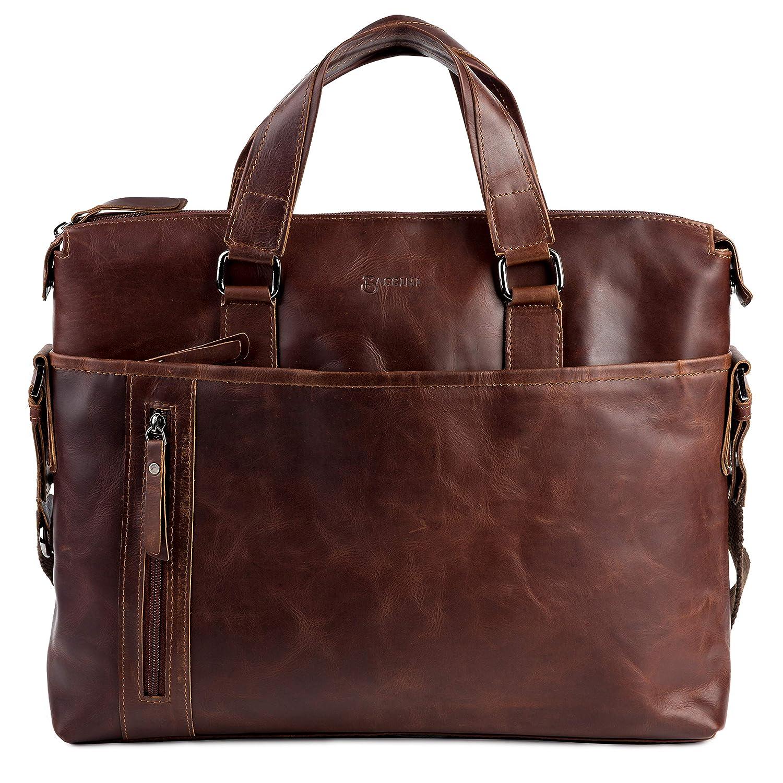 BACCINI® large laptop bag - unisex business office work school bag LEANDRO fits 15.4 inch laptop Vintage-Look   portable computer briefcase shoulder strap women men brown-cognac real leather