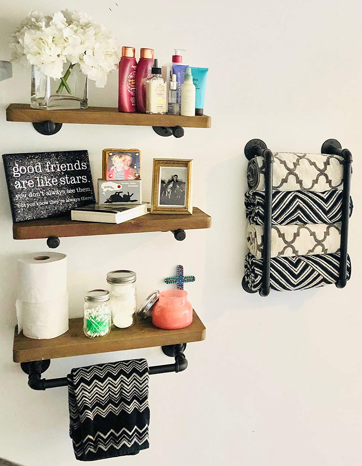 Industrial Pipe Shelves with Both Towel Racks: DIY Floating Wood Shelves on Industrial Pipes - Rustic Mounted Wall Shelf for Bathroom, Kitchen, Living Room, Bedroom - Farmhouse Decor Shelving Units