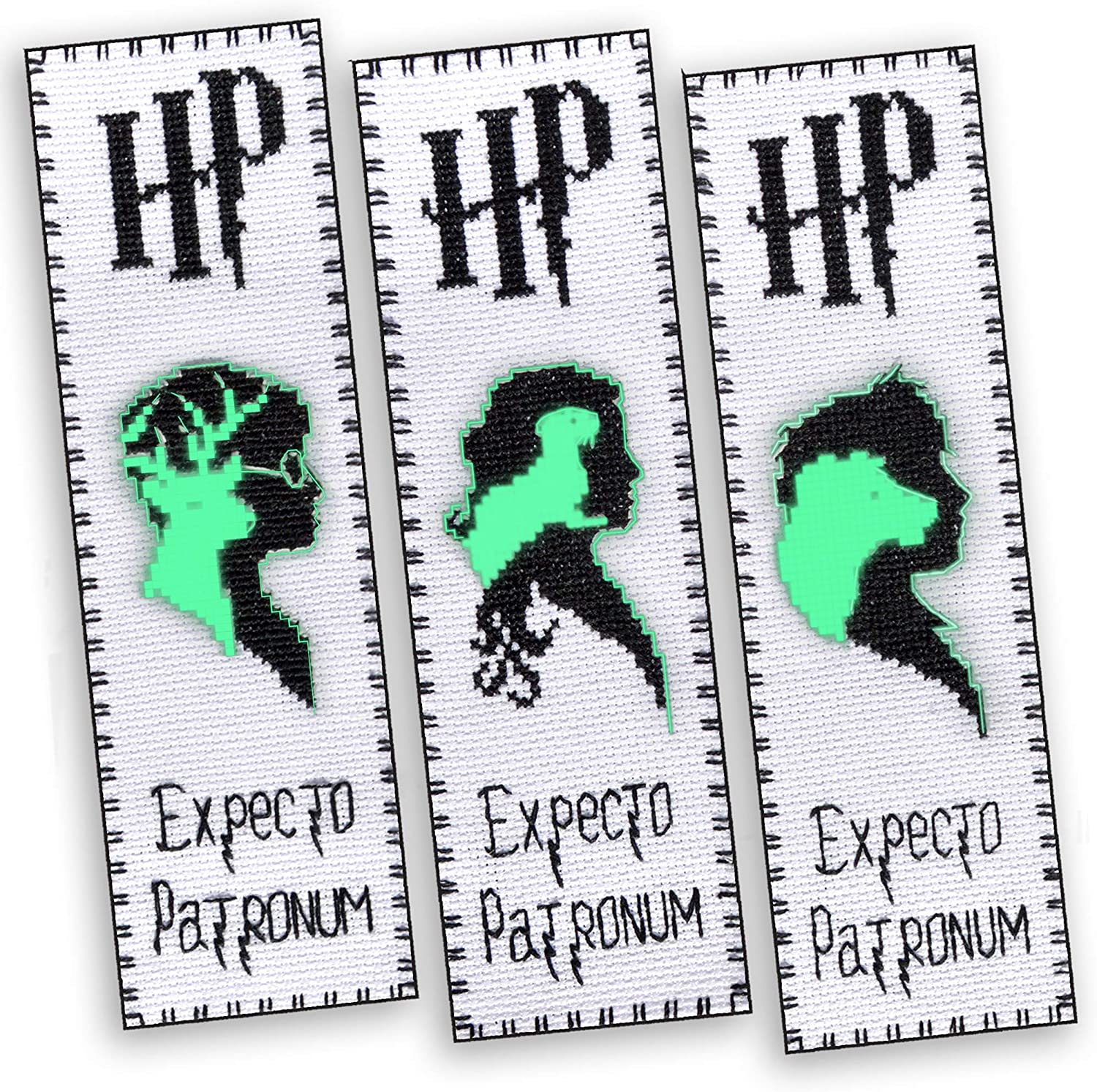 Embroidery Kits 'Patronuses' - Set of 3 DIY Counted Cross Stitch Luminous Bookmarks - Glow-in-The-Dark Gift for Kids and Teens