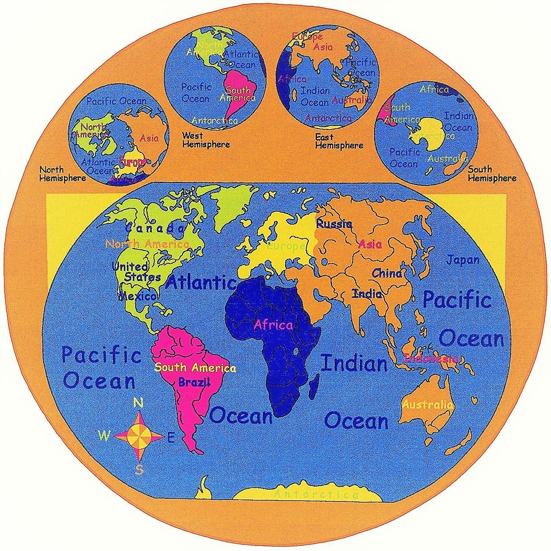 Amazon Com Pr Kids Baby Room Area Rug World Map Usa Map Ocean