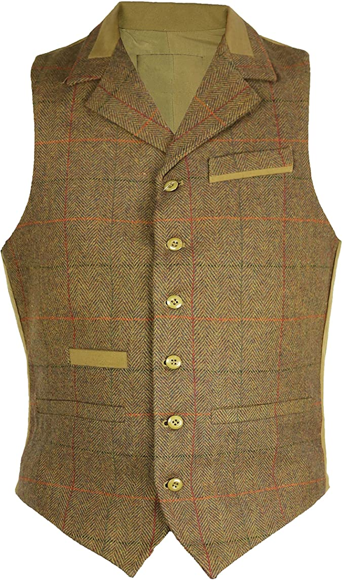 1920s Men's Fashion UK | Peaky Blinders Clothing Carabou Mens Classic Wool Blended Tweed Waistcoat with Lapel Collar Styling Herringbone Check Pattern S-3XL 4 Front Pockets and Adjustable Buckle Back £39.99 AT vintagedancer.com