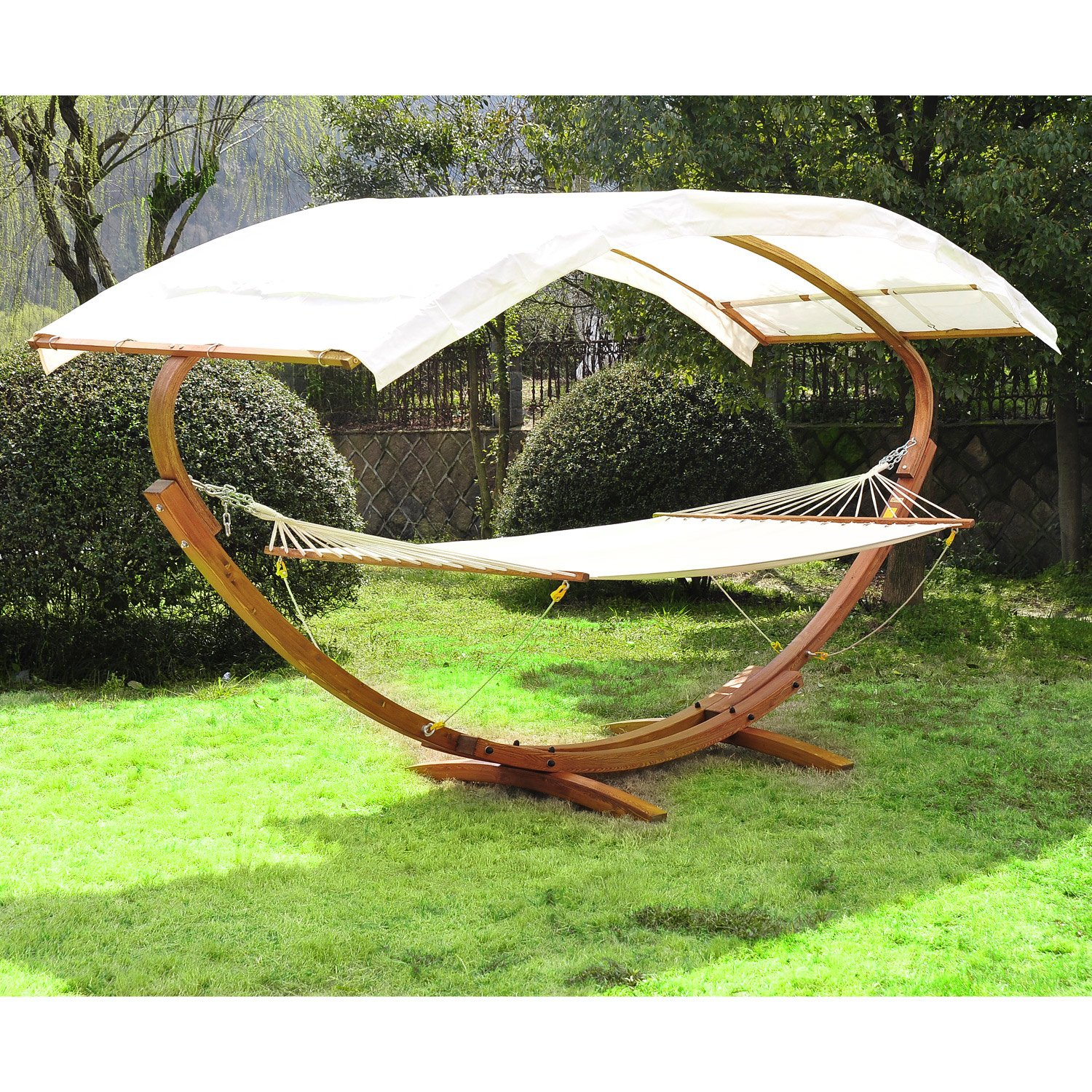 Outsunny 2-Person Wood Arc Outdoor Hammock & Stand Set with Canopy - Teak