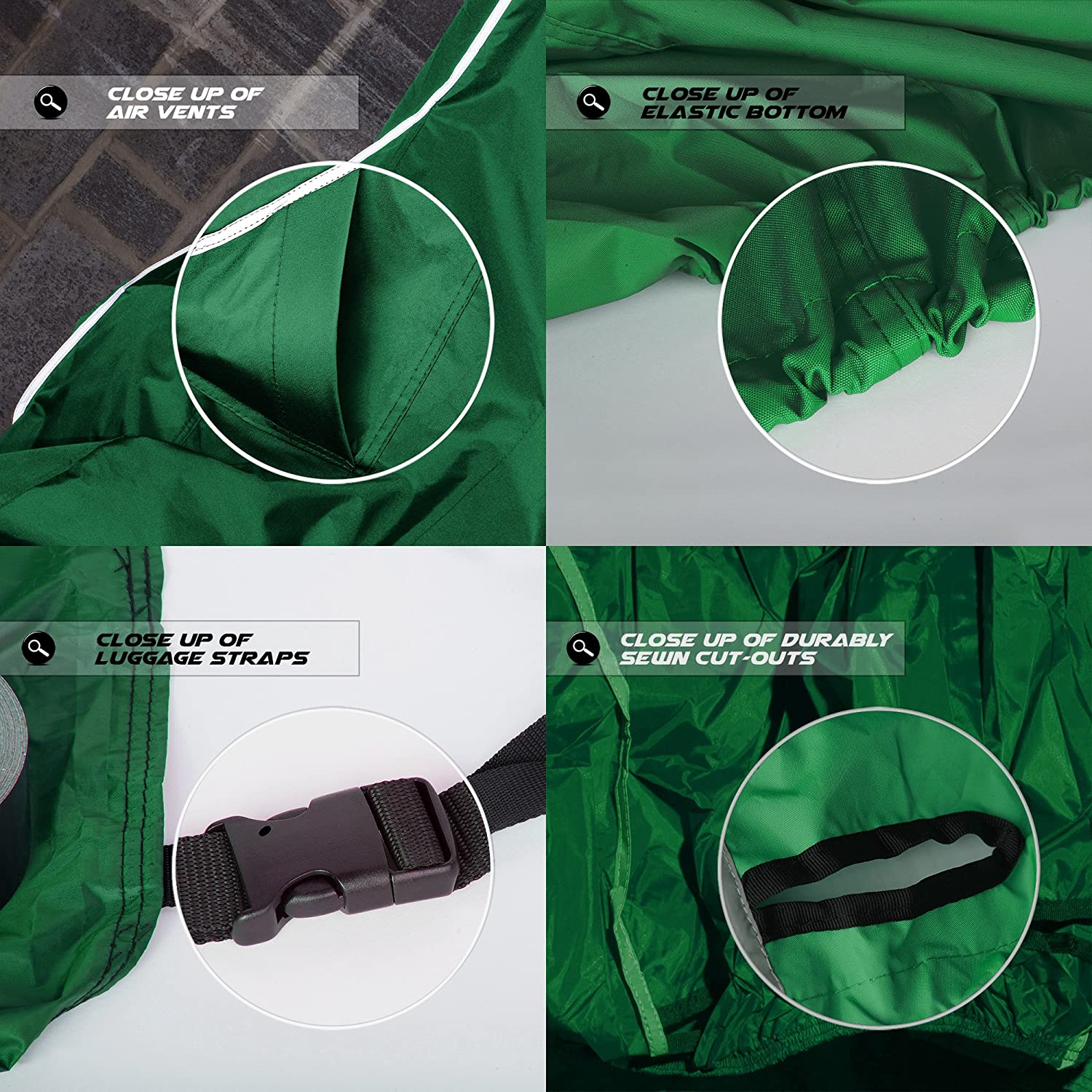 Premium Weather Resistant Covers Waterproof Polyester w//Soft Screen /& Heat Resistant Shields.Motorcycle Cover has Lockable fabric Medium, Hunter Green Ondaupswing Inc 76-1 Durable /& Long Lasting.Sportbikes /& Cruisers