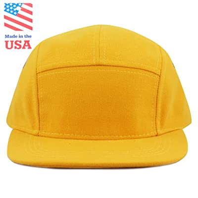 ec862dc8d4e9d THE HAT DEPOT Cotton Twill 5 Panel Flat Brim Genuine Leather Brass Biker  Board Cap