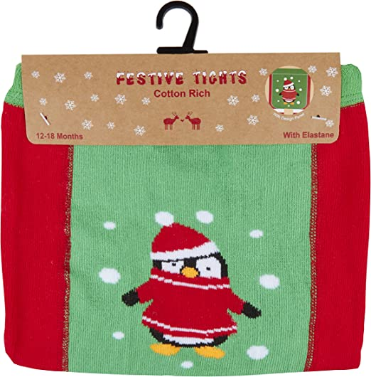 Baby Girls Christmas Tights Festive Reindeer Penguin Patch Panel Stripe 0-24Mths