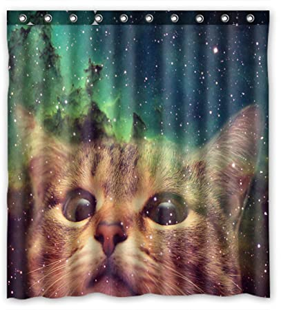 Buy Star Galaxy Outer Space Cool Cat Waterproof Fabric Polyester Bathroom Shower Curtain 60w X 72h By Online At Low Prices In India