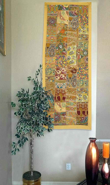 Jaune Hare Krishna Nouveau Coton d/écoration Murale Tapisserie d/él/éphant Patchwork Tenture Murale 60 x 91 Cm