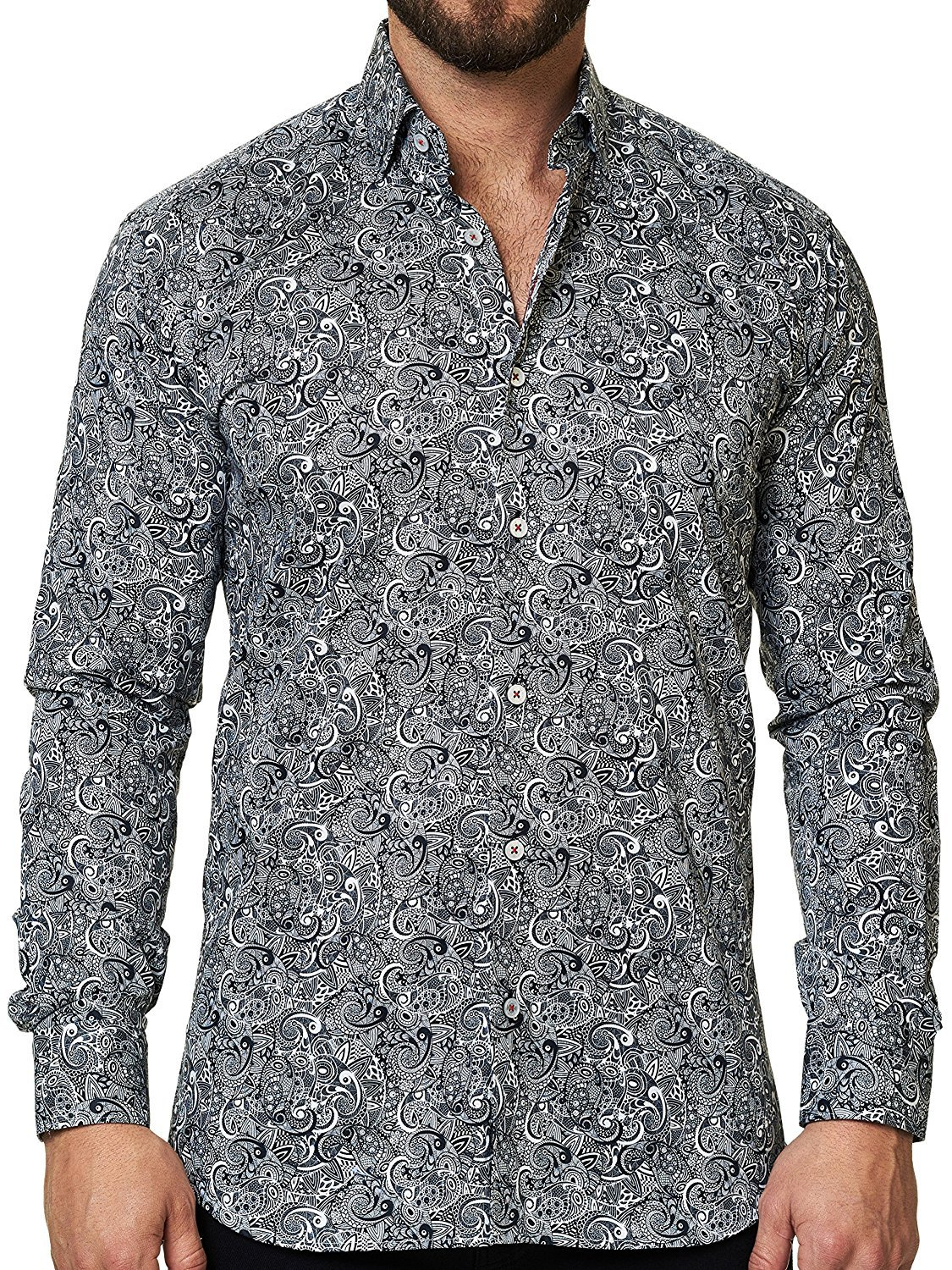 Maceoo Mens Designer Dress Shirt - Stylish & Trendy- Paisley Grey - Tailored Fit