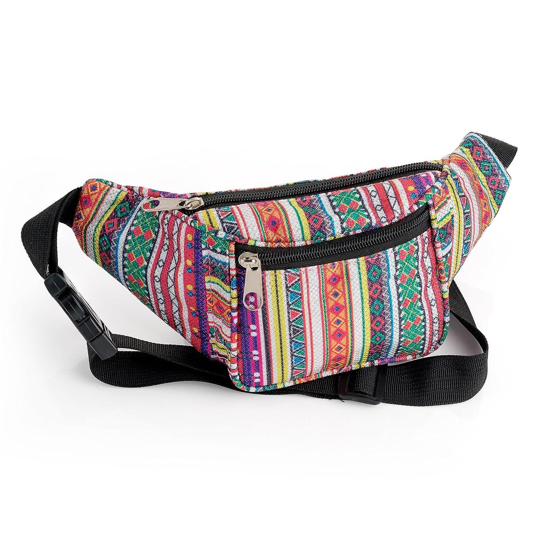 Multi Coloured Glitter Effect Tribal Print Bum Bag// Fanny Pack Festivals// Hols Chelsea Jones
