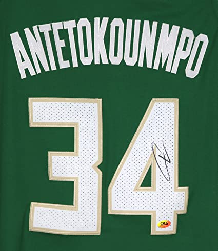 Giannis Antetokounmpo Milwaukee Bucks Signed Autographed Green  34 Jersey  Size 52 CAS COA 857354842