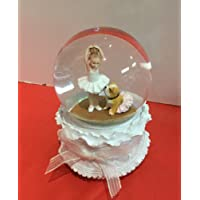 Lace Ballerina and Bulldog 80MM Musical Glitterdome Plays Tune Someday My Prince Will Come