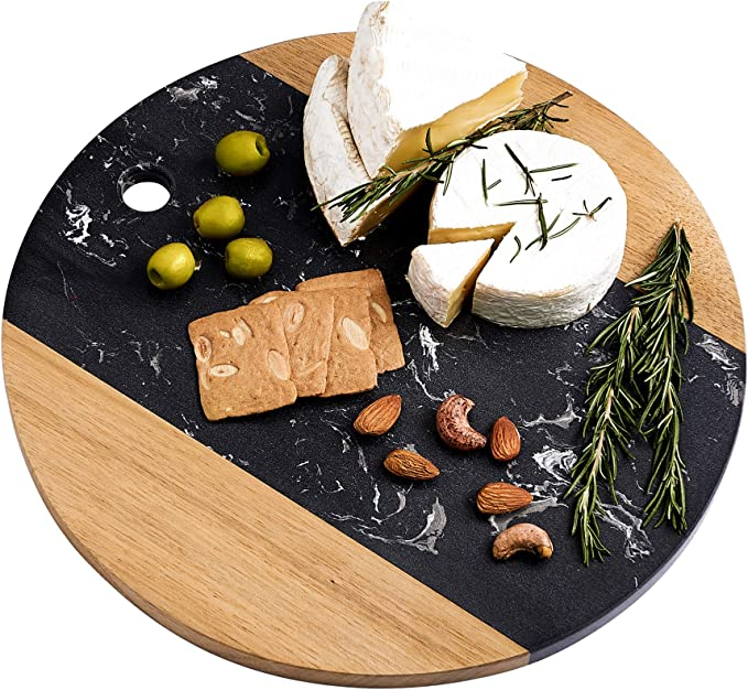12inch Marble Cheese Board with Acacia Wood Accent - Charcuterie Board for Two - Round Marble and Wood Cheese Board - Marble Cutting Board