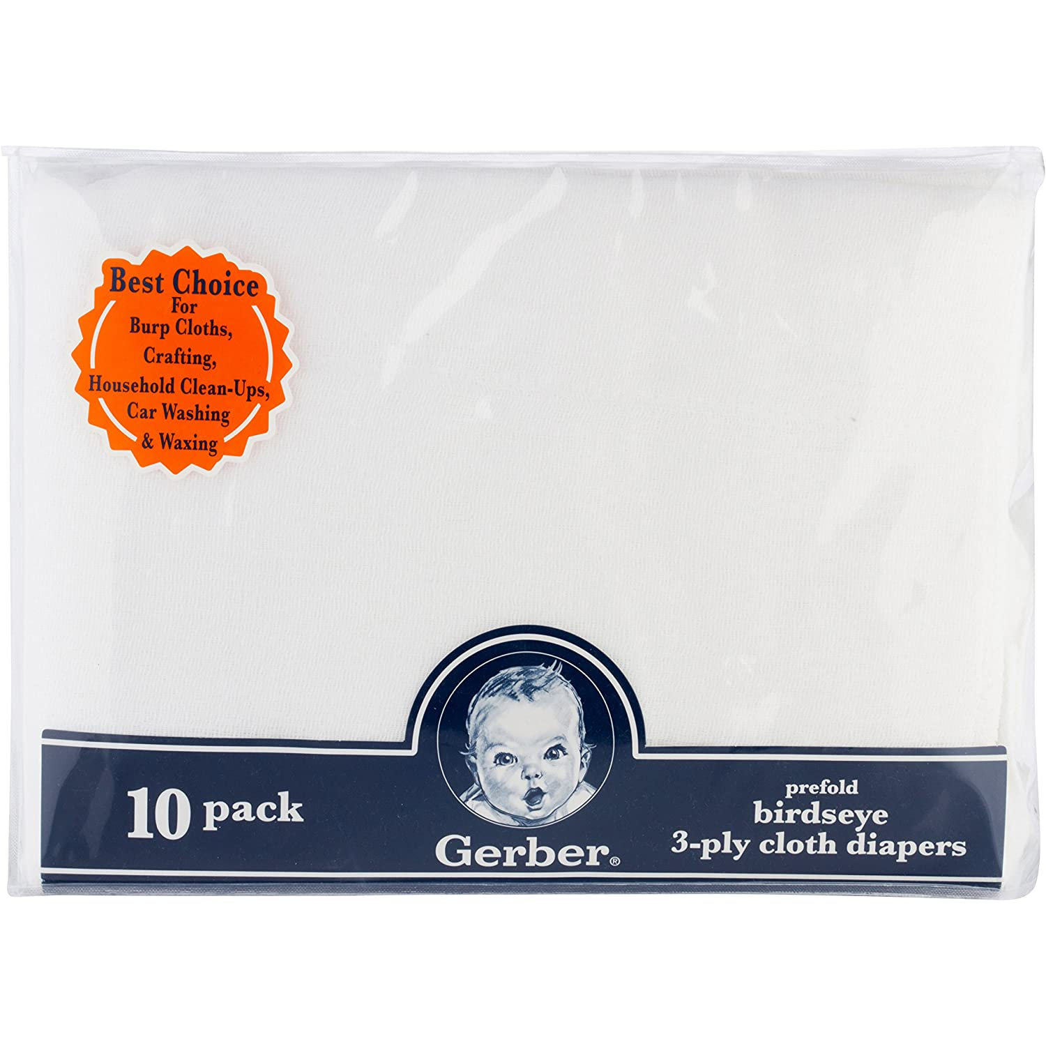 Gerber Birdseye 3-Ply Prefold Cloth Diapers White 10 Count