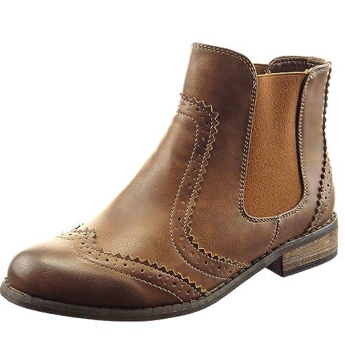 Sopily - Zapatillas de Moda Botines chelsea boots A medio muslo mujer perforado Talón Tacón ancho 3 CM - Camel FRF-4-XF236 T 41: Amazon.es: Zapatos y ...
