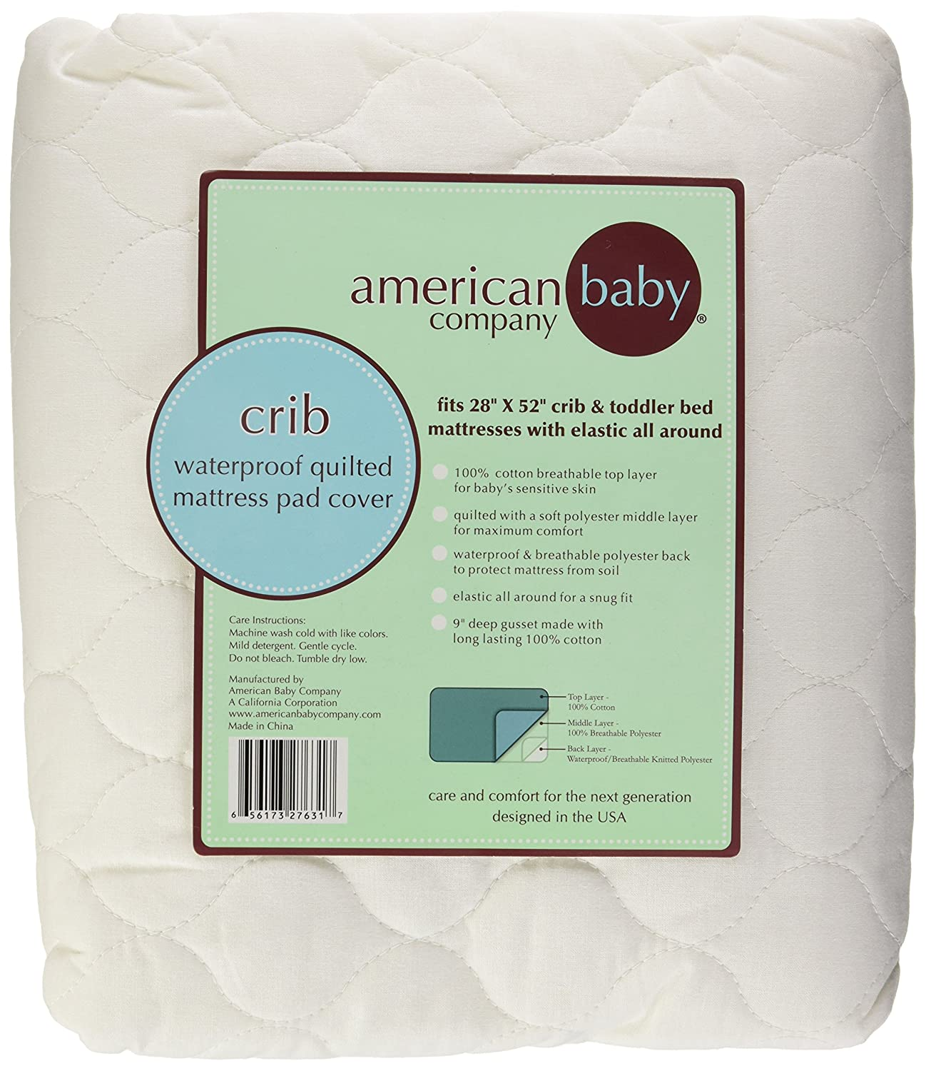 American Baby Company Extra Durable Waterproof Quilted Cotton Crib Mattress Pad Cover White Amazonca