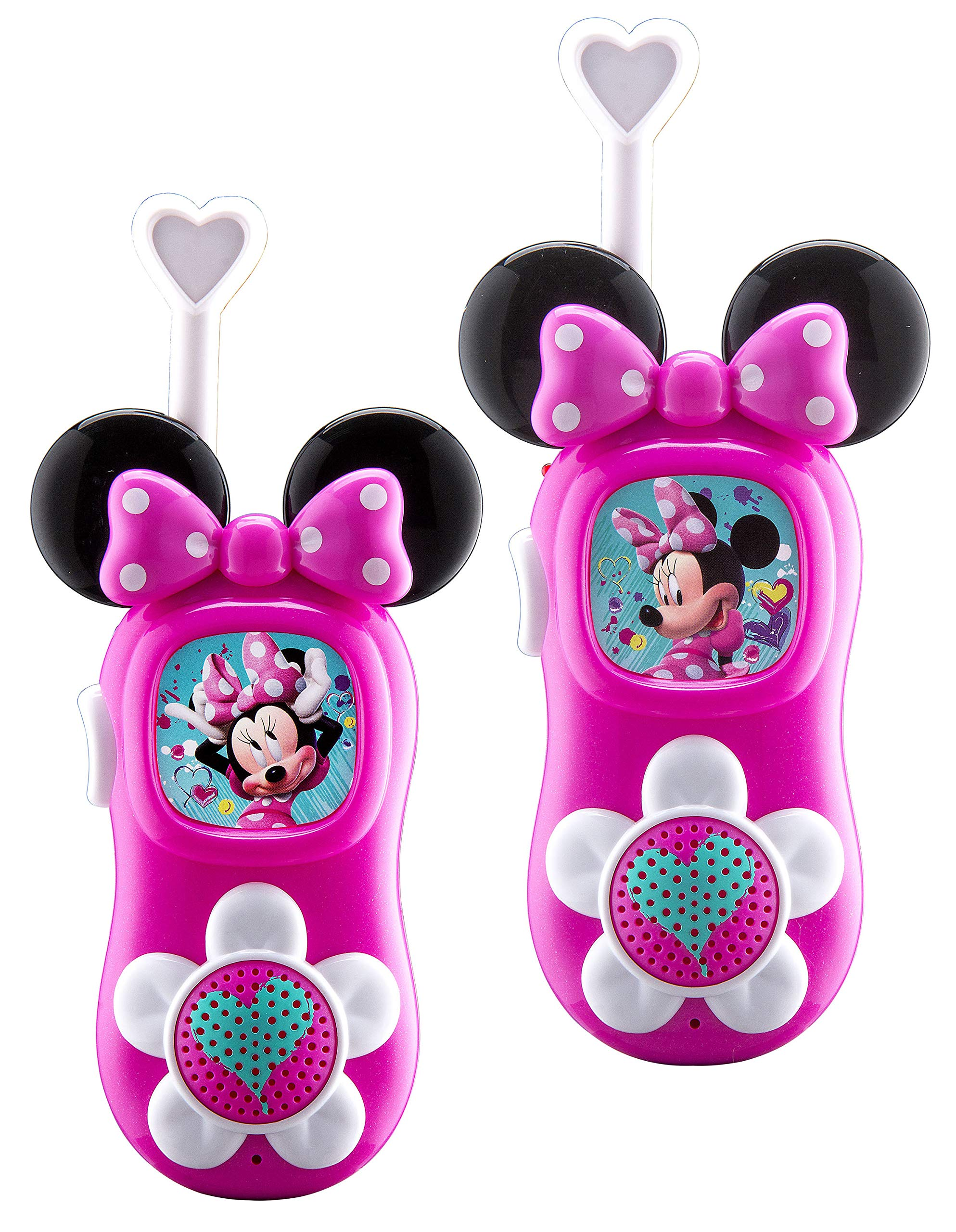KIDdesigns 220 Minnie Mouse FRS Walkie Talkies for Kids Long Range Static Free, Pink (Pack of 2)