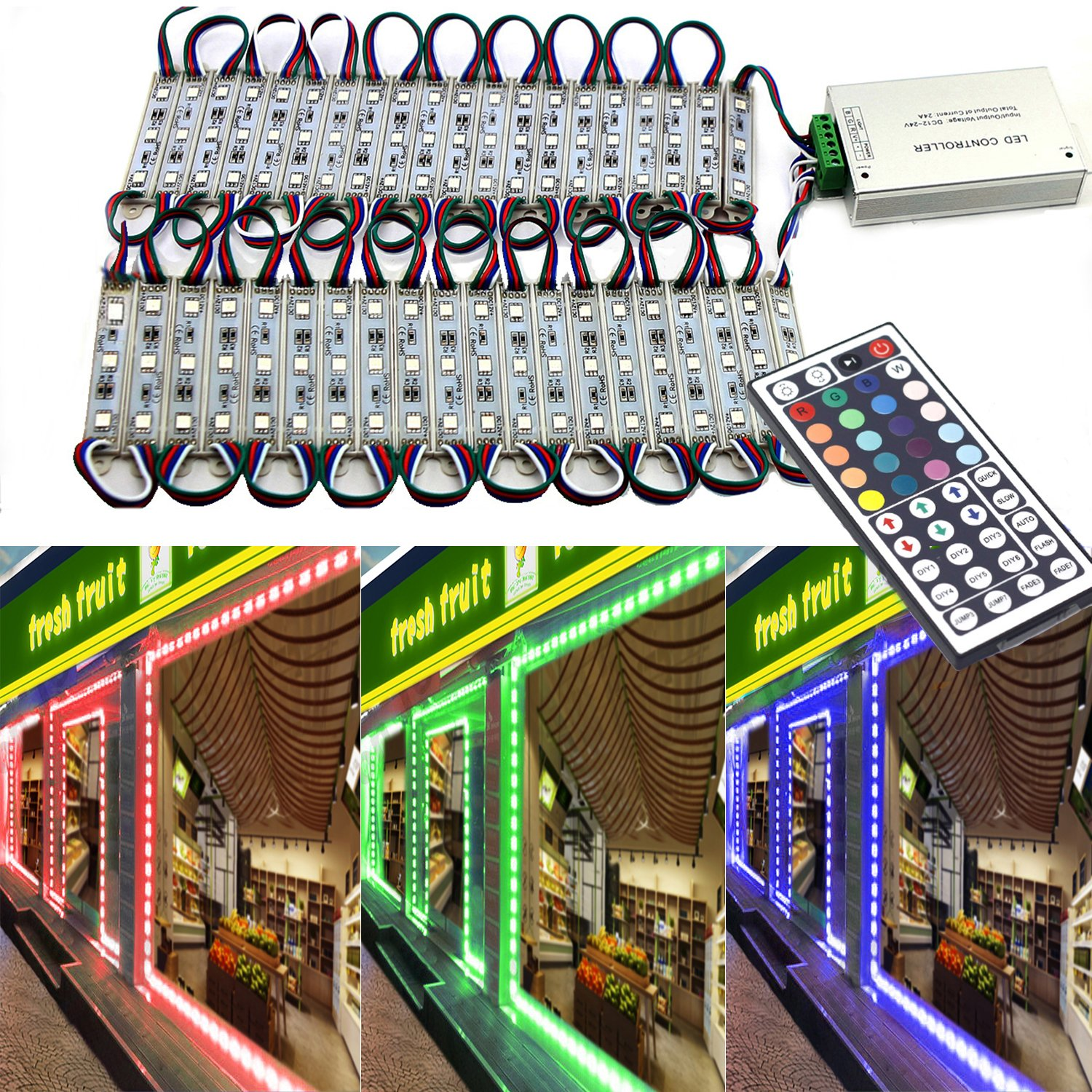 EAGWELL 20 Ft Storefront 40 Pieces RGB 5050 LED Light Module,2 Set 5050 SMD 120 LED Module Store Front Window Sign Strip Light