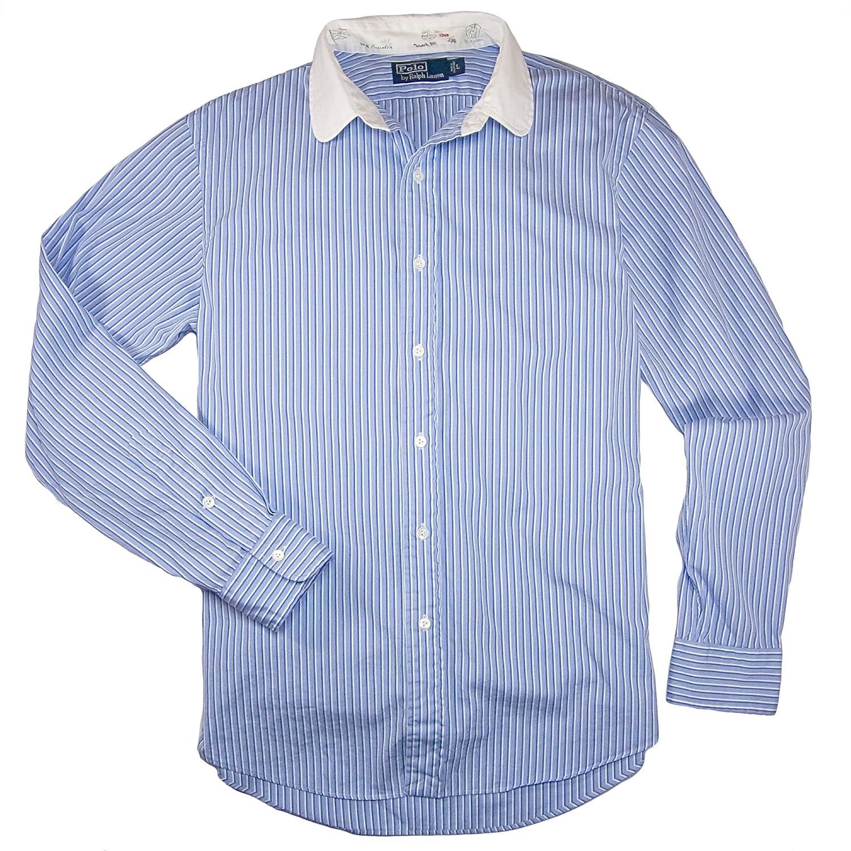 Ralph Lauren hombres El polo Club Sport raya Grande Azul blanco ...