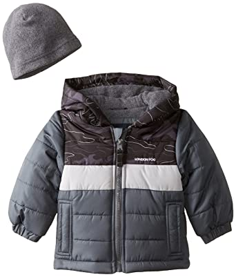 a7558a3ce Amazon.com  London Fog Baby-Boys Pieced Puffer Coat With Hat  Clothing