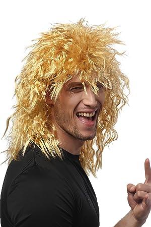 WIG ME UP ® - 90683-ZA35 Peluca Mujeres Hombres Carnaval rizos Salvajes Peluda quinqui macarra león Melena Rubia Dorada Rubio: Amazon.es: Juguetes y juegos