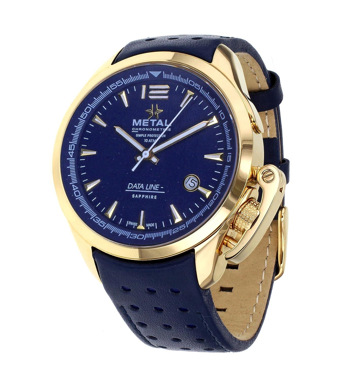 Metal CH Data Line Herren Armbanduhr 8353.41 mit Zifferblatt Blau Analog und Lederband Blau