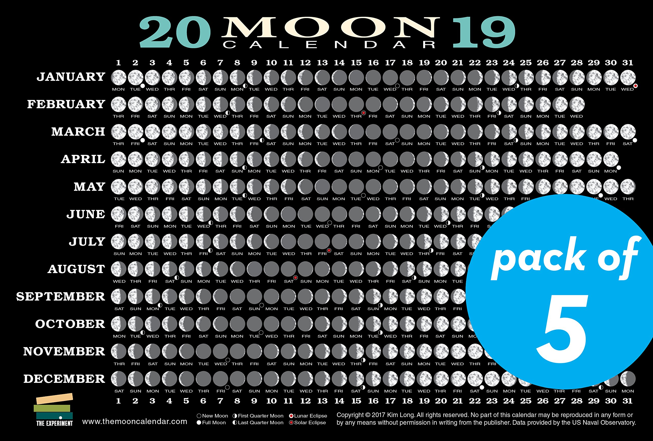 2019 Phases Of The Moon Calendar 2019 Moon Calendar Card (5 pack): Lunar Phases, Eclipses, and More