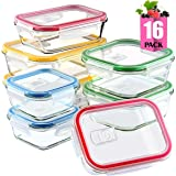 Glass Meal Prep Containers Set with Lids for Lunch Food Storage 16 Pieces Glass Lunch Containers