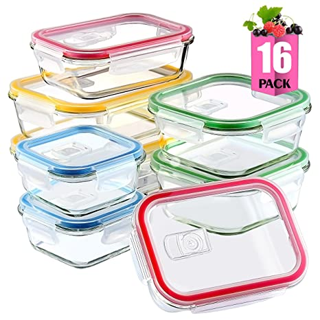 [16 Pieces] Glass Meal Prep Containers Glass Food Storage Containers With  Lids