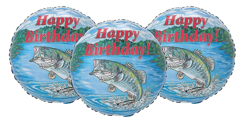 Set of 3 Happy Birthday Largemouth Bass Fishing Party Decoration 17 Balloons