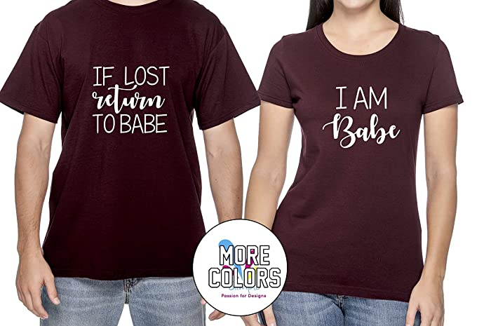 3d5dc6c4 Amazon.com: If Lost Please Return To Babe Couple T Shirt - Funny Matching  Couples T-Shirts - Graphic Tees TShirt Humor Shirt -HoneyMoon: Handmade