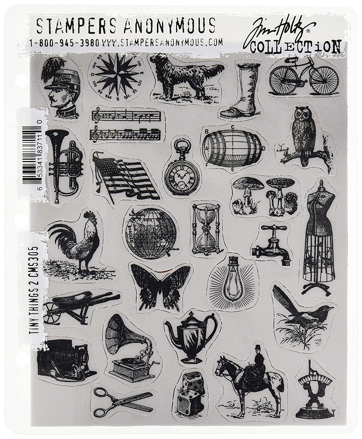 Stampers Anonymous CMS305 Tim Holtz Cling Stamps 7X8.5-Tiny Things 2