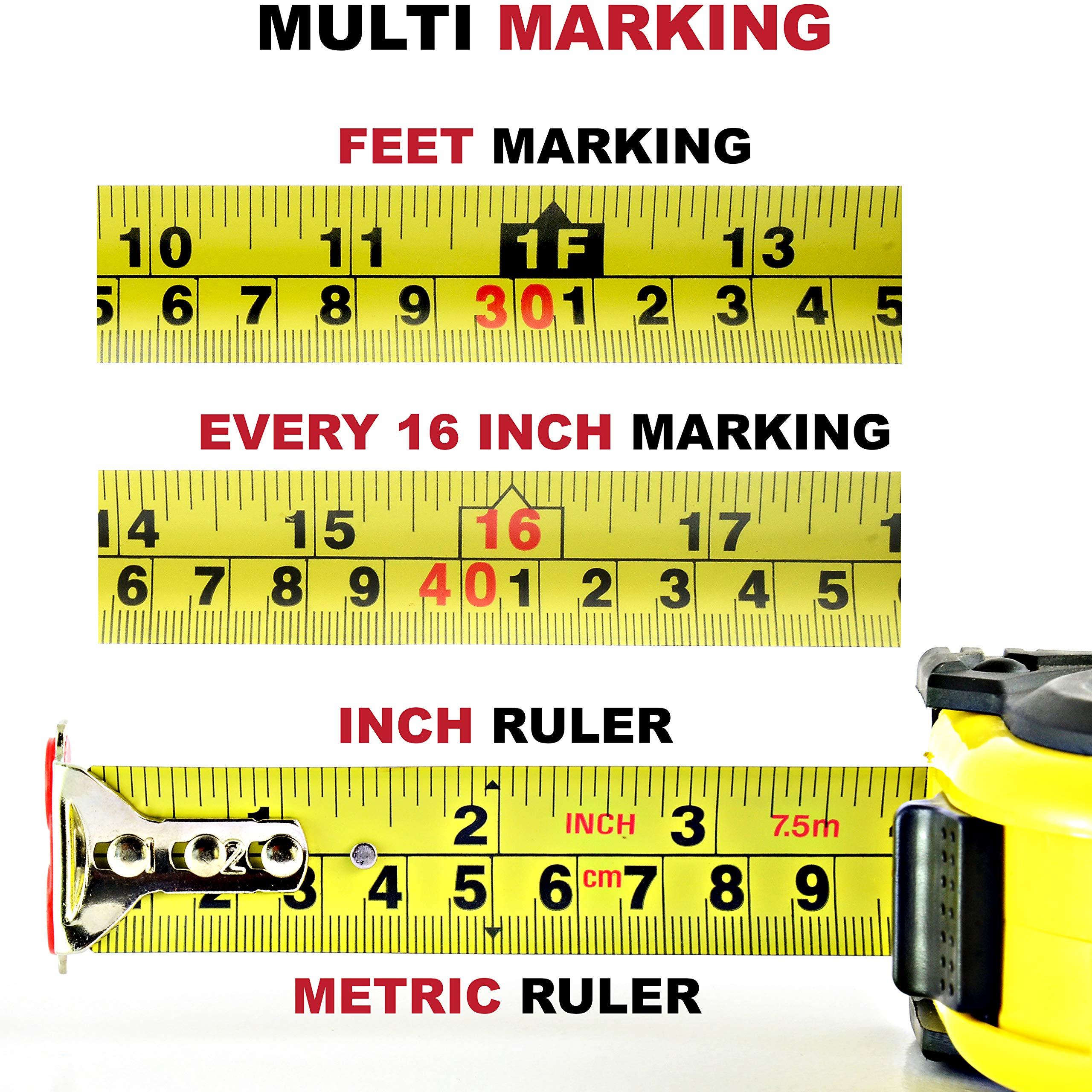 Measuring Tape Measure By Kutir - EASY TO READ 25 Foot BOTH SIDE DUAL RULER, Retractable, STURDY, Heavy Duty, MAGNETIC HOOK, Metric, Inches and Imperial Measurement, SHOCK ABSORBENT Solid Rubber Case by Kutir (Image #5)