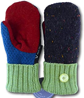 product image for Jack & Mary Designs Handmade Kids Fleece-Lined Wool Mittens, Made from Recycled Sweaters in the USA (green/red/brown, Large)