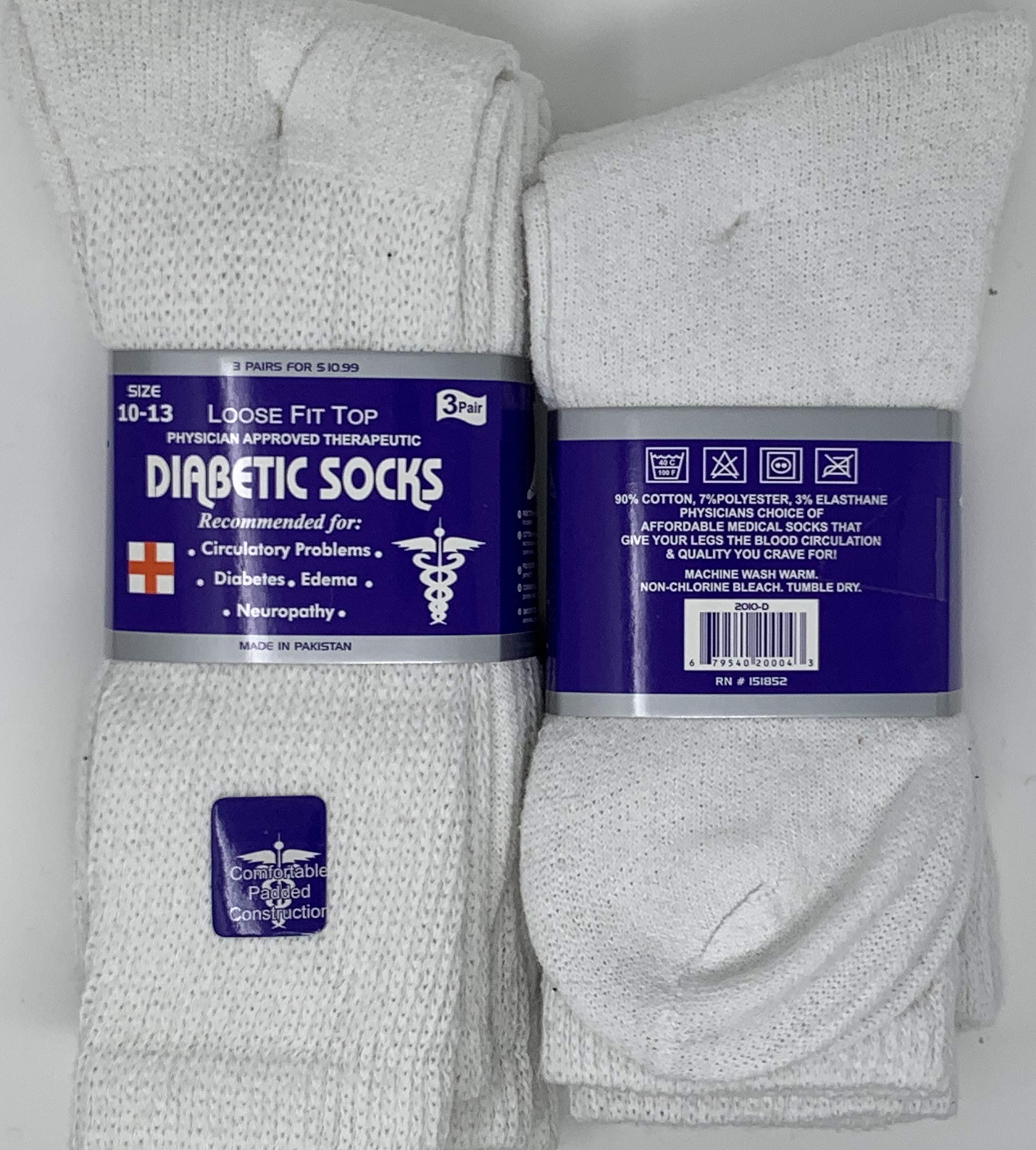 Diabetic Socks 3 Pair Pack Recommended For Circulatory Problems Loose Fit Tops