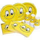HEKU 30005 Set di stoviglie monouso per feste, con piatti, bicchieri e tovaglioli, 120 pezzi, Smiles, 40x29x7 cm