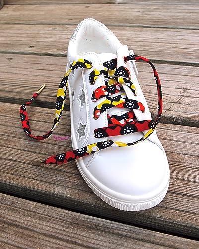 Lacets de chaussures Enfant, tissu wax africain jaune, rouge